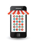 App icons on smartphone screen as a shop front Royalty Free Stock Photography
