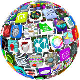 App Icons in a Sphere Pattern. Many smart phone application icons arranged in a spherical shape
