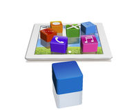 App icons on tablet with empty one Stock Photo