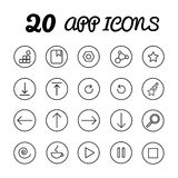 App icons. 20 app icons, ui kit icons in , eps Stock Illustration