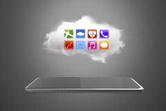 App icons on white cloud with smart tablet Stock Images