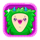 APP-Ikone mit flaumigem Monster des lustigen Karikaturgrüns Stockbild