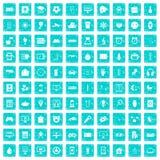 100 APP-Ikonen stellten Schmutz blau ein Stockbild