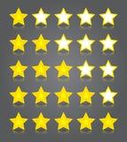APP-Ikonenglassatz. Fünf glattes Gelbsterne rati Lizenzfreie Stockfotografie