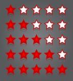 APP-Ikonenglassatz. Fünf glatte Rotsternbewertungen Stockbilder
