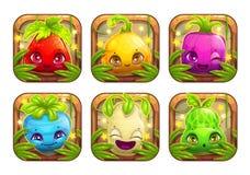 App ikony z ślicznymi kreskówki rośliny potworami royalty ilustracja