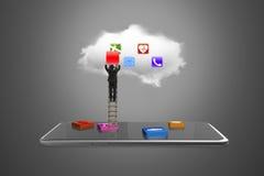 App-kvarter ilar minnestavlan med moln- och affärsmanklättringladd Royaltyfri Foto