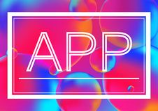 App letters concept vector illustration on Neon color balls background with white frame. Abstract colorful 3D. App letters concept vector illustration on Neon Stock Images