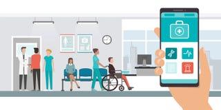 App médico e pacientes no hospital ilustração do vetor