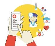 App móvil para la salud Imagen de archivo libre de regalías