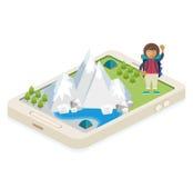 App móvil para viajar y acampar Foto de archivo libre de regalías