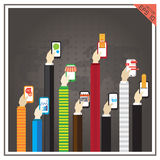 平的传染媒介手电话企业营销网象app mo 库存图片