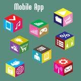 APP mobile, isométrique Images libres de droits