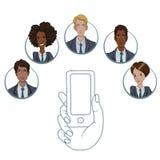 APP mobile pour la collaboration entre différents travailleurs photographie stock libre de droits