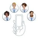 APP mobile pour la collaboration entre les travailleurs médicaux photographie stock libre de droits