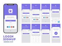 App mobile UI o progettazione di UX con lo schermo di connessione differente royalty illustrazione gratis