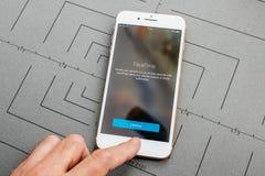 App na Jabłczanym iPhone Plus podaniowy oprogramowanie FaceTime fotografia royalty free