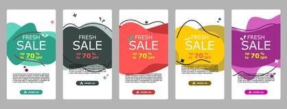 App och instagram för pråligt försäljningsbaner mobil vektor illustrationer