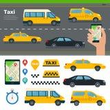 App per i tipi differenti di prenotazione del taxi Fotografia Stock Libera da Diritti