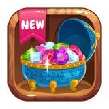 App pictogram met blauwe kist van gemmen royalty-vrije illustratie