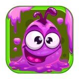 App pictogram met grappig leuk purper slijmerig monster vector illustratie
