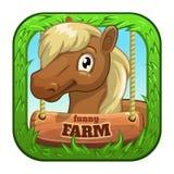 App pictogram met het leuke hoofd van de beeldverhaal grappige poney royalty-vrije illustratie