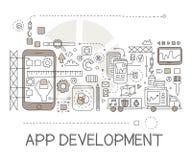 App procesu rozwoju elementów Kreatywnie nakreślenie Infographic Fotografia Stock