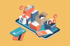 App que hace compras en línea libre illustration