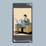 App for reading press man newspaper Stock Images