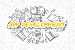 App rozwój - Doodle Żółty słowo pojęcia prowadzenia domu posiadanie klucza złoty sięgający niebo Obrazy Royalty Free