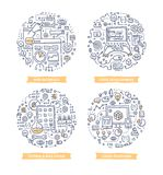 App rozwoju Doodle ilustracje royalty ilustracja