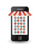 Значки App на smartphone экранируют по мере того как фронт магазина Стоковая Фотография RF