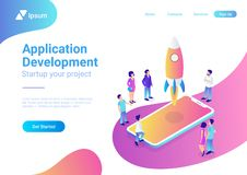 App startup mobile launching process flat 3d isome royalty free illustration