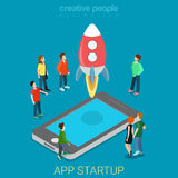 App startup mobile launching process flat 3d isometric vector Stock Photo