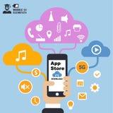 App Store móvil, concepto, ejemplo plano del diseño, mano humana con el teléfono móvil, tableta stock de ilustración