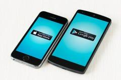 App Store- und Google-Spiel Lizenzfreie Stockfotos