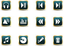 App style music icons. A set of musical themed icons illustrated in an App icon style Stock Photo