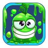 App-symbol med det roliga gröna slemmiga monstret Royaltyfri Fotografi