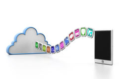 App symbols from cloud to tablet Royalty Free Stock Image