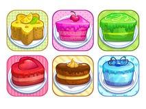 App-symbolsuppsättning med färgrika söta kakor Arkivbilder