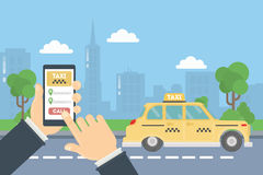 App for taxi. Man holds hand with smarthone. Application for calling taxi. Yellow car in urban exterior Royalty Free Stock Images