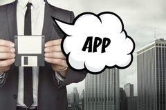 APP-Text auf Spracheblase mit Geschäftsmann Lizenzfreie Stockfotos