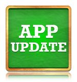 App Update green chalkboard square button royalty free illustration