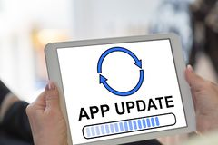 App updateconcept op een tablet stock illustratie