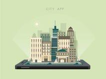 App van het stadslandschap concept in vlak ontwerp vector illustratie
