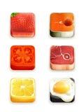 App van het voedsel geplaatste pictogrammen stock illustratie