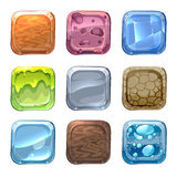 App vector icons with different textures. In cartoon style. Ui stone, web design nature, wood material illustration Stock Image