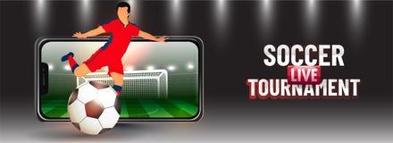 App vivo do competiam do futebol em linha no smartphone com o jogador de futebol que retrocede a bola ilustração do vetor