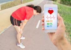 App voor het meten van de sportieve gezondheid stock foto's