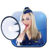 App znaka stewardesa z megafonem Obrazy Royalty Free